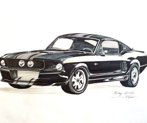 Croquis voiture Mustang - solvejgdesign